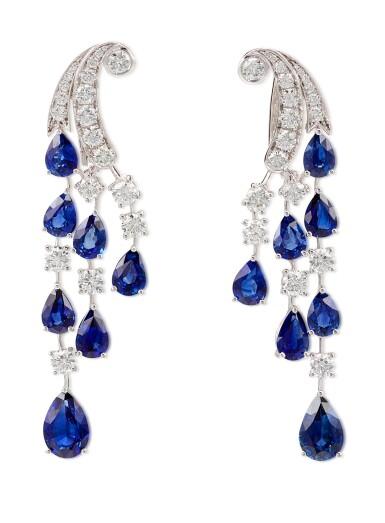 View 2. Thumbnail of Lot 1065. Pair of Sapphire and Diamond Earrings | 格拉夫| 藍寶石 配 鑽石 耳墜一對 (藍寶石及鑽石共重約14.00及3.80克拉).