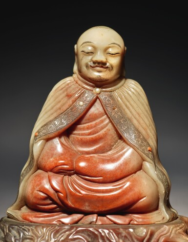 View 5. Thumbnail of Lot 673. A SUPERB SOAPSTONE FIGURE OF A LUOHAN, ATTRIBUTED TO ZHOU BIN, 17TH / 18TH CENTURY.