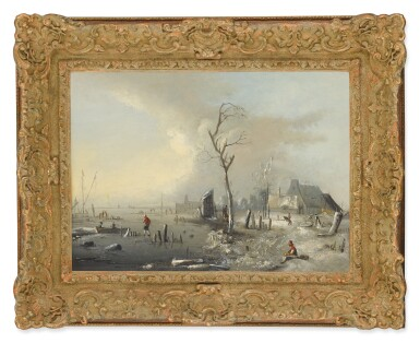 DUTCH SCHOOL, 18TH CENTURY | A WINTER LANDSCAPE WITH FIGURES