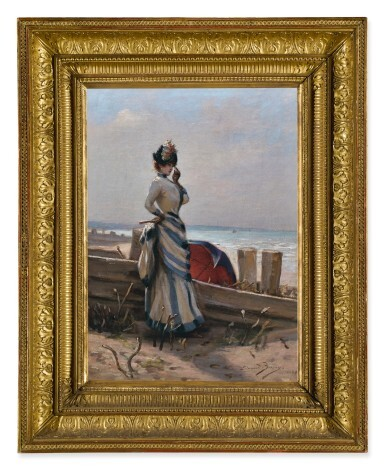 View 3. Thumbnail of Lot 151. ÉDOUARD BISSON | AN ELEGANT WOMAN BY THE SEA.