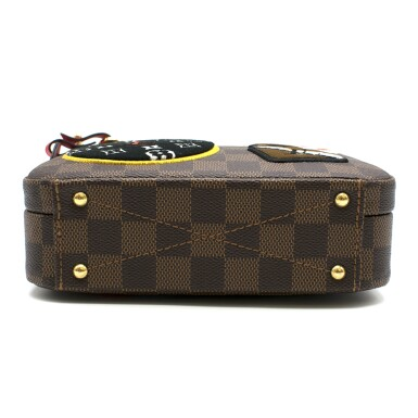 View 6. Thumbnail of Lot 160. Stories Box Damier Ebène Colour coated canvas and red cowhide leather trim with sequin, velour & embroidered patches. Louis Vuitton. Cruise Collection 2018..