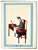 Chinese paintings, a box of 10 albums of drawings by Tingqua