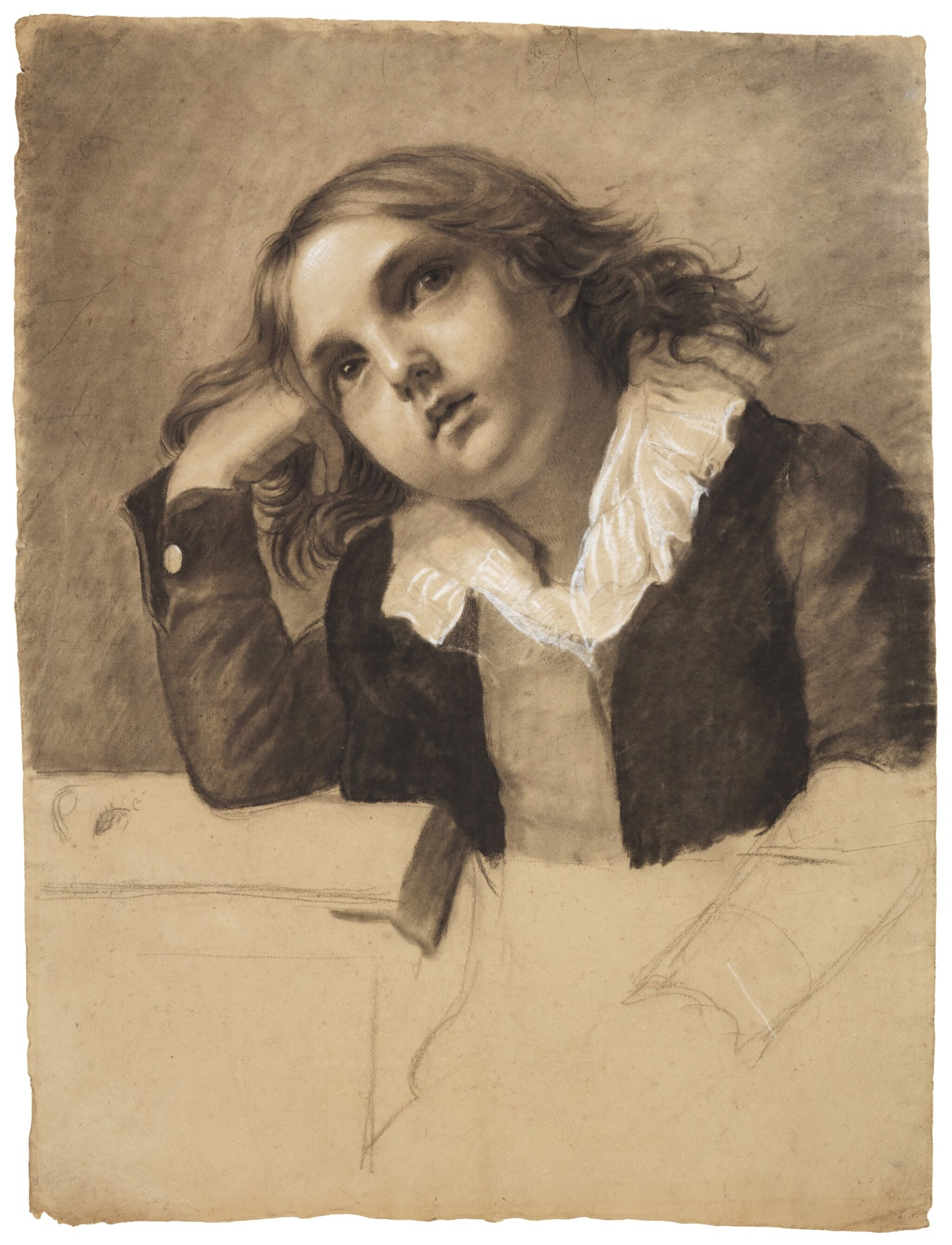 View full screen - View 1 of Lot 22. PAULINE AUZOU     PORTRAIT OF A SEATED BOY, SUPPORTING HIS RIGHT ELBOW.