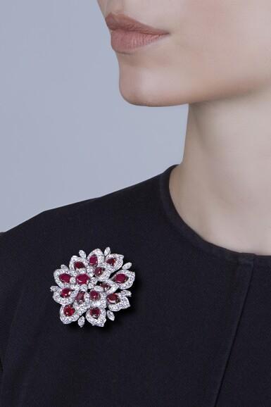 View 2. Thumbnail of Lot 94. Bulgari [寶格麗]   Ruby and Diamond Clip-Brooch [紅寶石配鑽石別針].