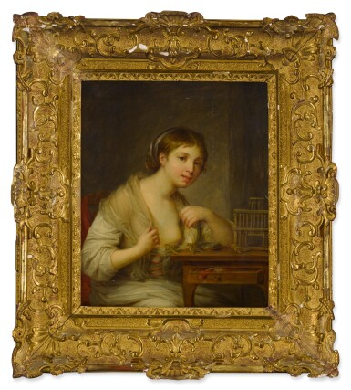 View 3. Thumbnail of Lot 79. Portrait of a young woman seated at a desk with three birds.