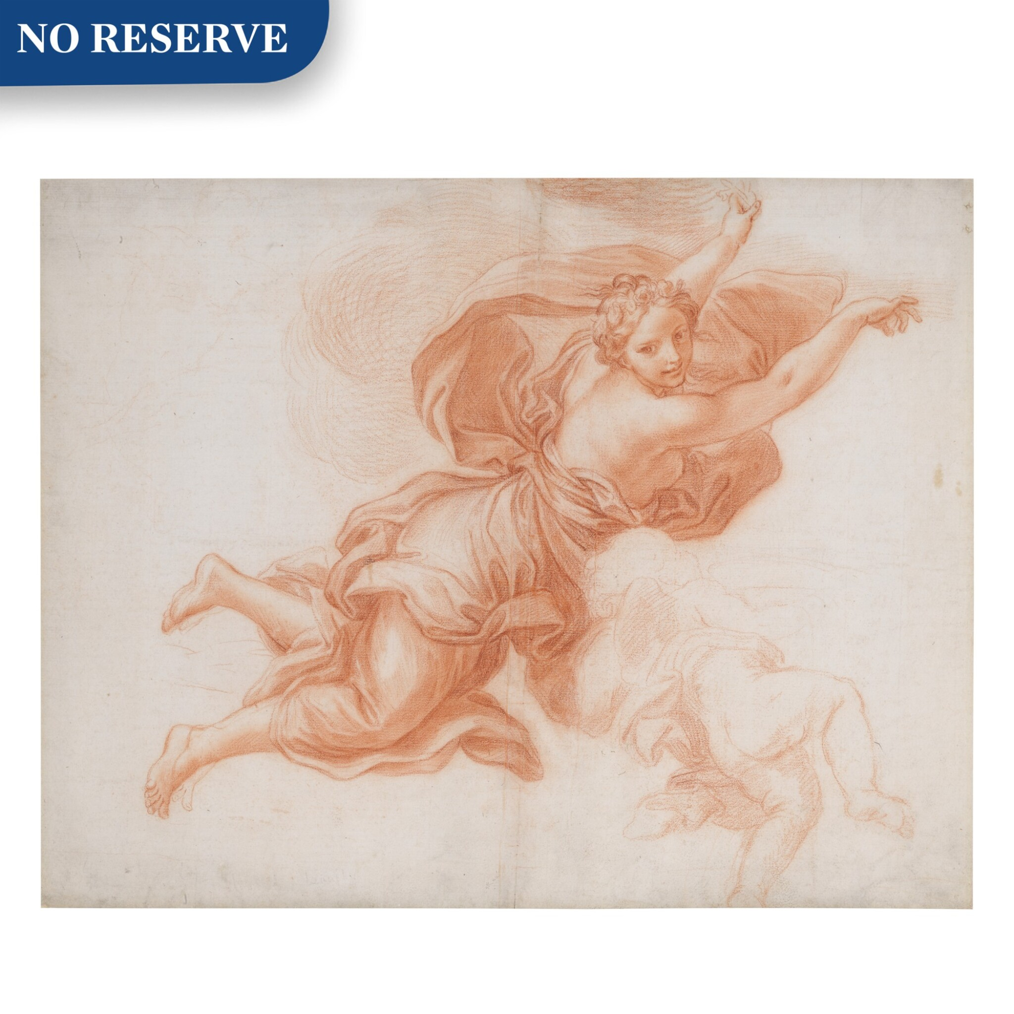 View full screen - View 1 of Lot 135. Study of an angel in flight and a putto.