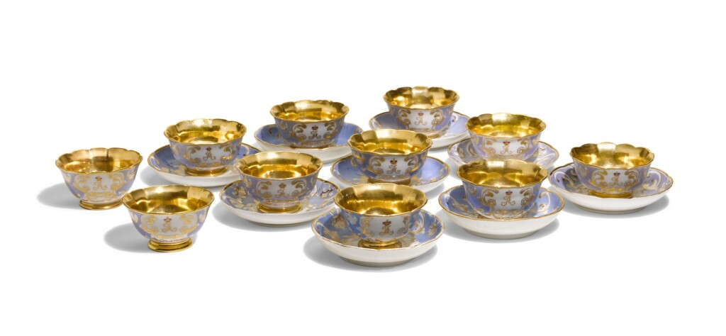 A GROUP OF PORCELAIN CUPS AND SAUCERS FROM THE FARM PALACE BANQUET SERVICE, IMPERIAL AND KORNILOV PORCELAIN FACTORIES, ST PETERSBURG, PERIOD OF ALEXANDER II (1855-1881) AND ALEXANDER III (1881-1894)