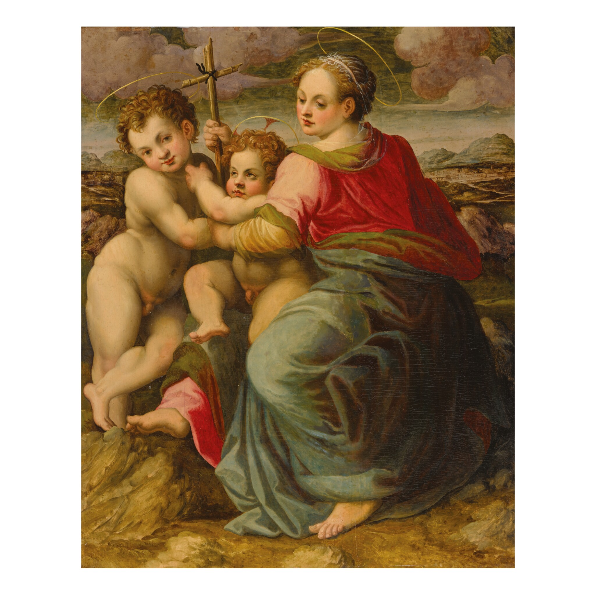 View full screen - View 1 of Lot 58. MICHELE TOSINI, CALLED MICHELE DI RIDOLFO DEL GHIRLANDAIO | MADONNA AND CHILD WITH ST. JOHN THE BAPTIST.