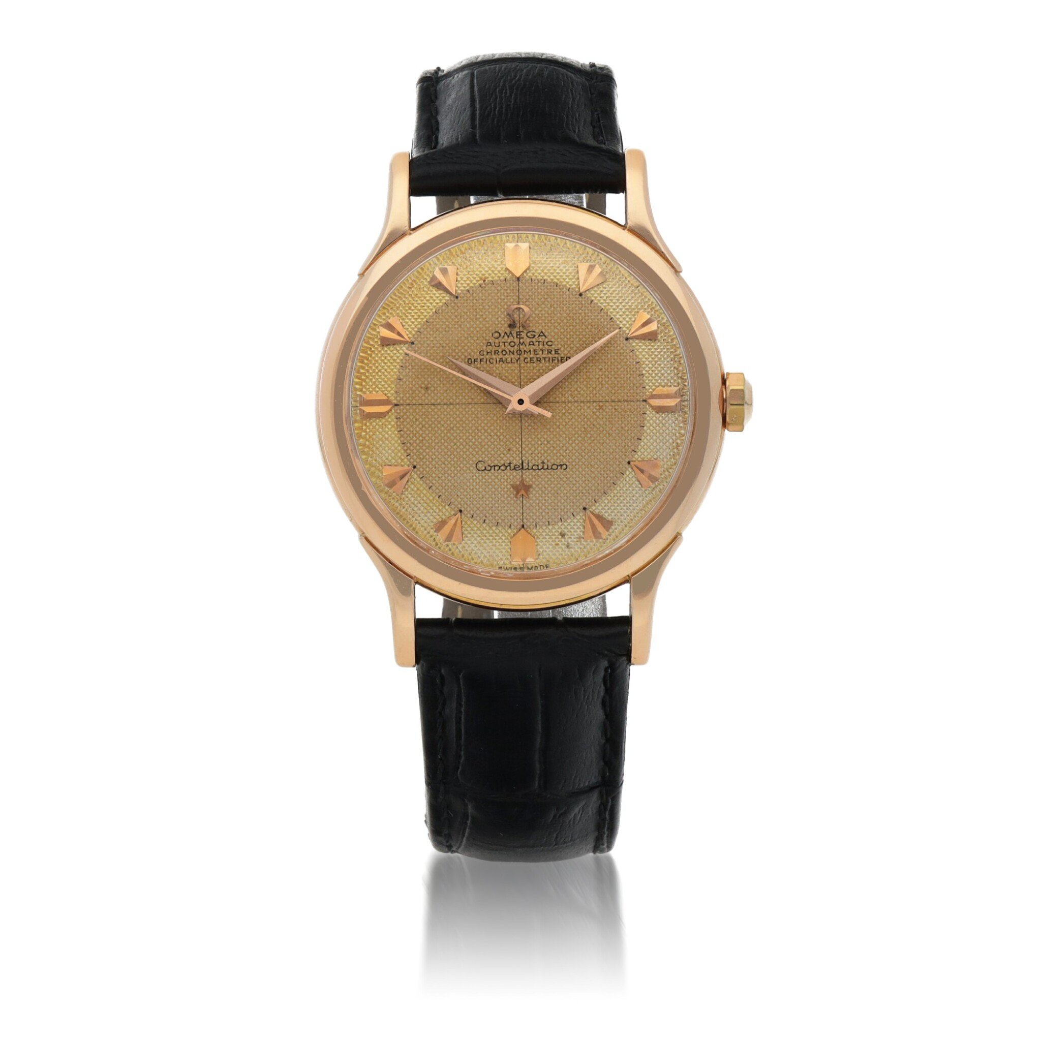 View full screen - View 1 of Lot 429. CONSTELLATION, REF 2782 PINK GOLD WRISTWATCH CIRCA 1950.