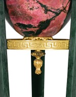 A RUSSIAN GILT-BRONZE RHODONITE AND NEPHRITE ATHÉNIENNE, AFTER A DESIGN BY I.I. GALBERG (1778-1863) SECOND QUARTER OF THE 19TH CENTURY, PROBABLY BY THE PETERHOF IMPERIAL LAPIDARY WORKS