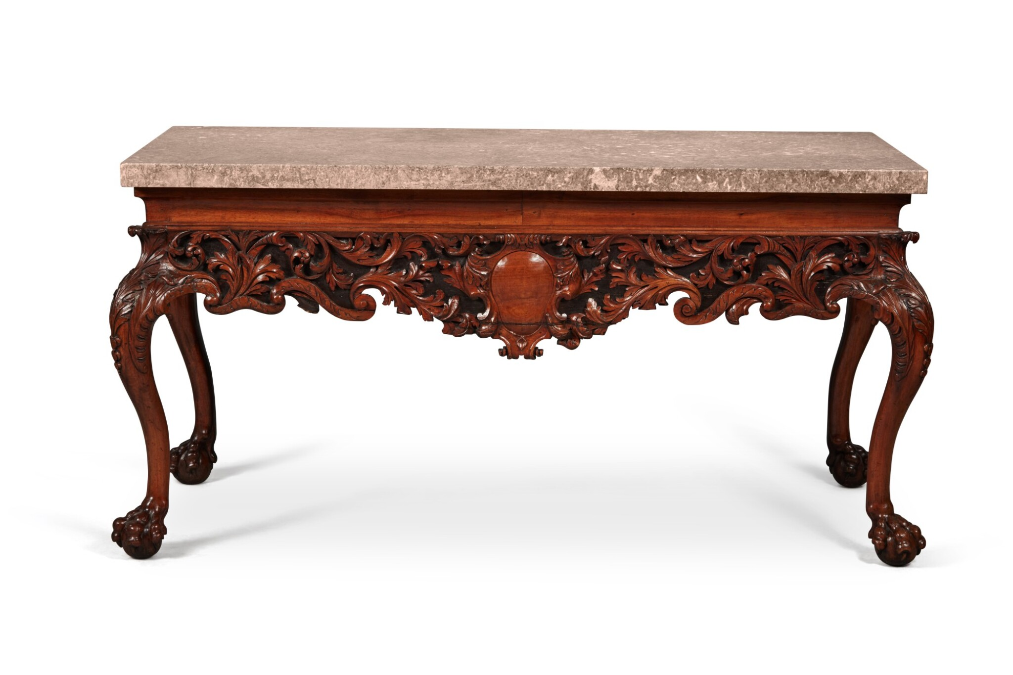 View full screen - View 1 of Lot 111. An Irish George IV Carved Walnut Side Table, Circa 1820.