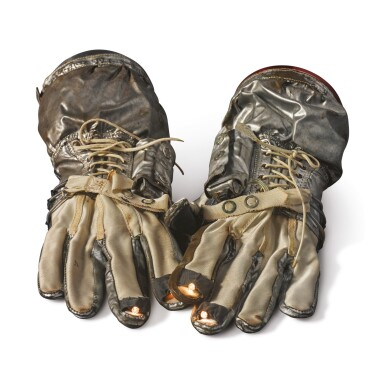 View 2. Thumbnail of Lot 9. GEMINI G2-G PROTOTYPE SPACESUIT GLOVES WITH WORKING FINGER-TIP LIGHTS, MADE FOR ALAN SHEPARD, CA 1963.