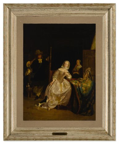 View 3. Thumbnail of Lot 20. A man returning from a hunt, greeted by a lady in an interior.