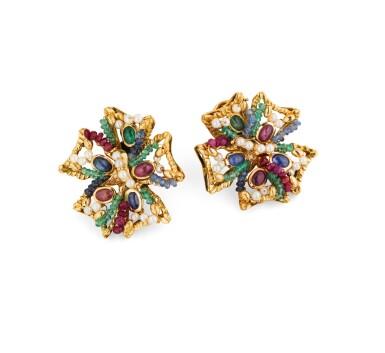 View 2. Thumbnail of Lot 69. Giodoro, Pair of gem-set, cultured pearl and diamond ear clips [Paire de clips d'oreille pierres de couleur, perles de culture et diamants].