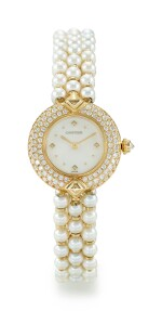CULTURED PEARL, DIAMOND AND MOTHER-OF-PEARL WRISTWATCH, CARTIER   養殖珍珠 配 鑽石 及 珍珠母 腕錶, 卡地亞(Cartier)