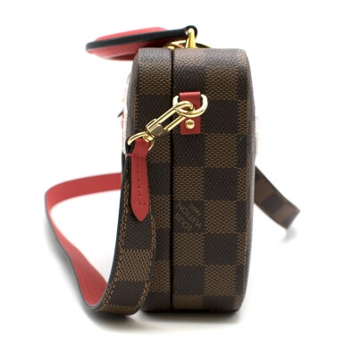 View 5. Thumbnail of Lot 160. Stories Box Damier Ebène Colour coated canvas and red cowhide leather trim with sequin, velour & embroidered patches. Louis Vuitton. Cruise Collection 2018..