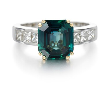 COLOURED SAPPHIRE AND DIAMOND RING