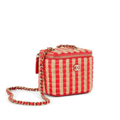 View 2. Thumbnail of Lot 70. Red and Beige Raffia and Jute Thread Mini Vanity Gold Hardware, 2021.