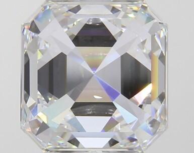 A 4.22 Carat Square Emerald-Cut Diamond, F Color, VVS2 Clarity