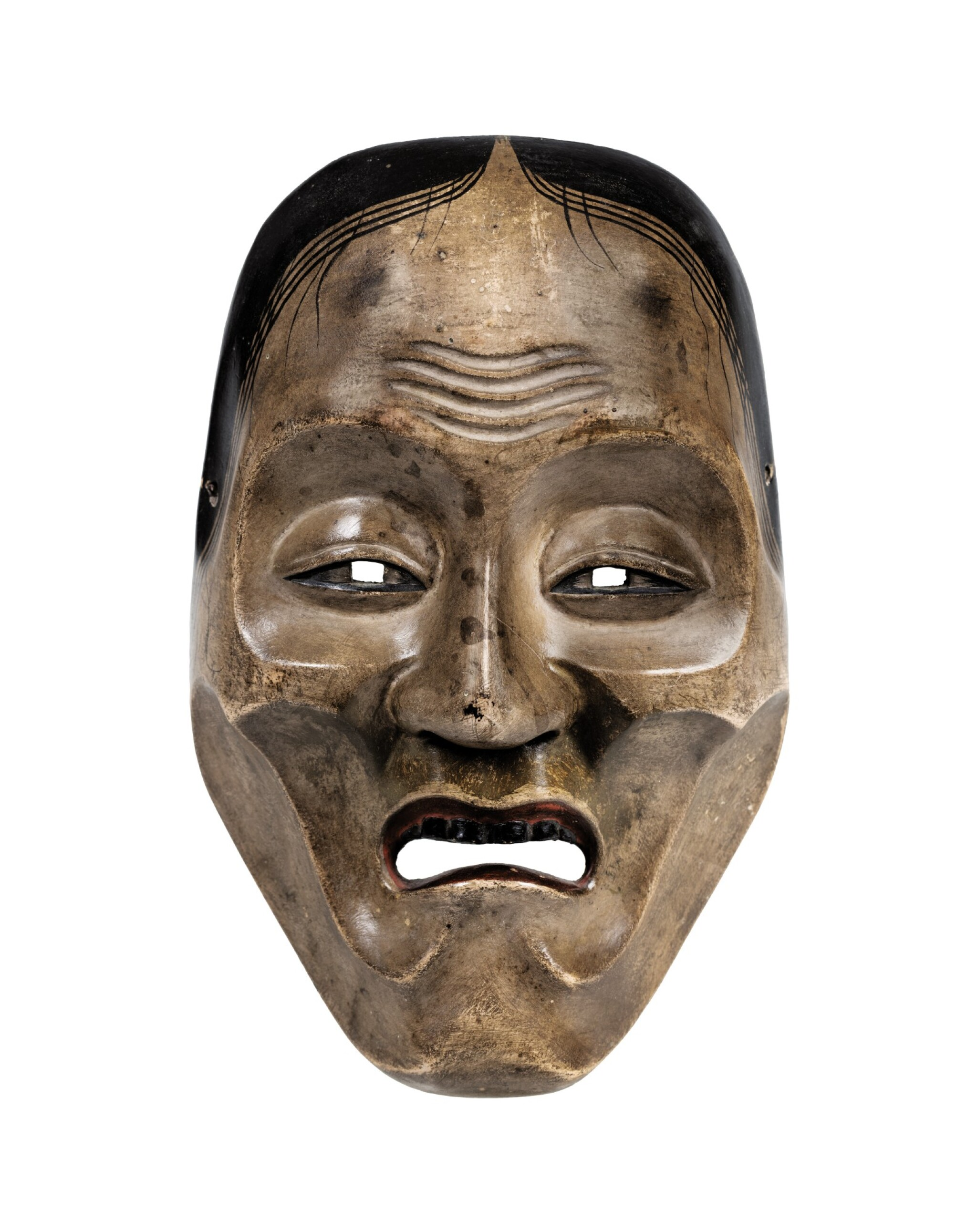 View full screen - View 1 of Lot 78. A wood lacquered Noh mask, Japan, Meiji period.