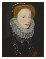 CIRCLE OF GEORGE GOWER | PORTRAIT OF LETTICE KNOLLYS, COUNTESS OF ESSEX AND COUNTESS OF LEICESTER (1543 - 1634), BUST LENGTH, IN A BLACK DOUBLET, LACE RUFF AND PEARL-DECORATED CAP