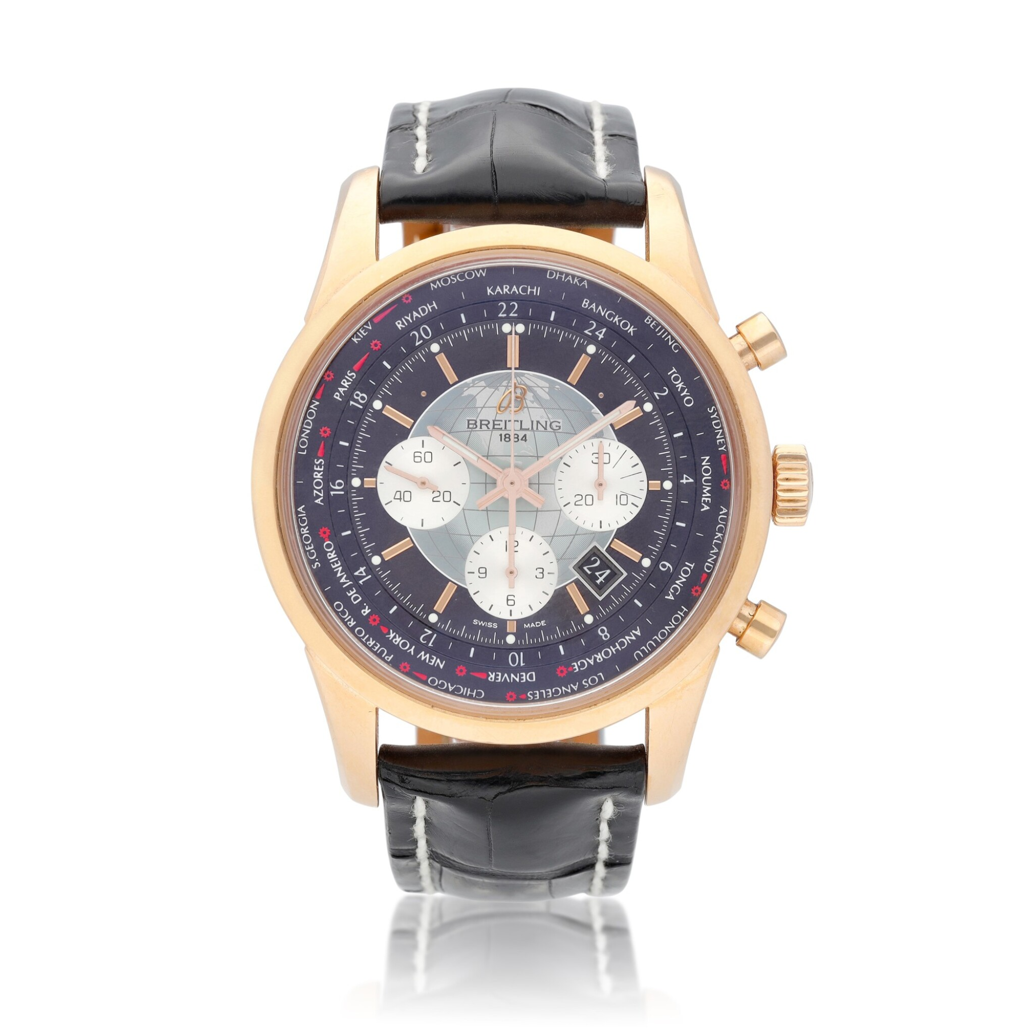 View full screen - View 1 of Lot 69. Breitling Transocean Chronograph Unitime reference RB0510 A pink gold automatic chronograph worldtime wristwatch with date, circa 2012.