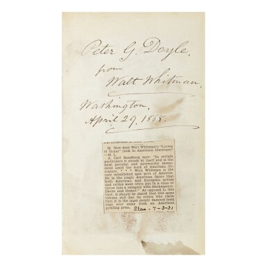 WALT WHITMAN   LEAVES OF GRASS. NEW YORK: (WILLIAM E. CHAPIN FOR THE AUTHOR,) 1867, PRESENTATION COPY INSCRIBED TO PETER DOYLE