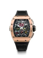 RICHARD MILLE | RM11-02 RG   A TITANIUM AND PINK GOLD AUTOMATIC SEMI-SKELETONIZED DUAL TIME, FLYBACK CHRONOGRAPH WRISTWATCH WITH MONTH AND DATE, CIRCA 2012