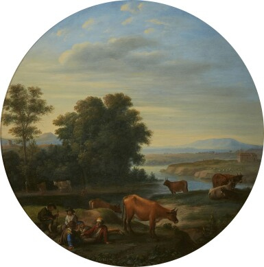 View 1. Thumbnail of Lot 248. HERMAN VAN SWANEVELT | ITALIAN RIVER LANDSCAPE WITH HERDERS AND THEIR CATTLE.