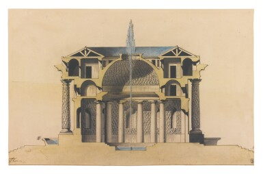View 1. Thumbnail of Lot 147. Sold Without Reserve    L.S. TAINE   DESIGN FOR A TEMPLE D'EAU.
