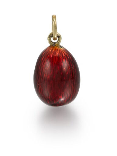 View 2. Thumbnail of Lot 15. A Fabergé jewelled gold and guilloché enamel egg pendant, Michael Perchin, St Petersburg, 1899-1903.