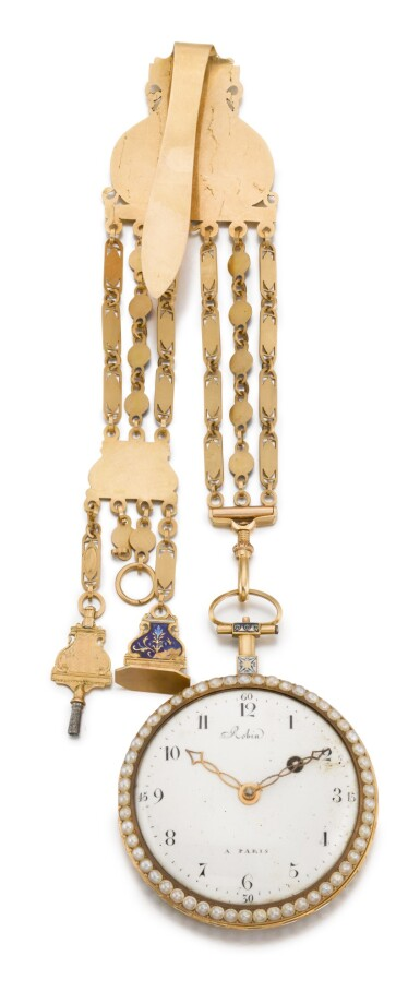 View 2. Thumbnail of Lot 303. ROBIN A PARIS   GOLD, ENAMEL AND PEARL-SET WATCH WITH CHATELAINE, CIRCA 1790.