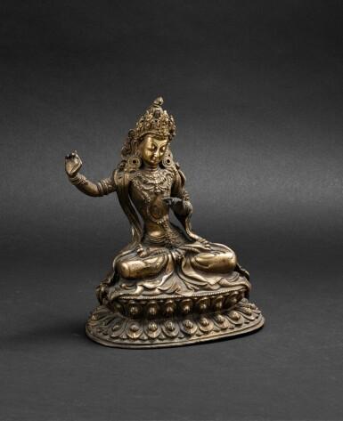 View 1. Thumbnail of Lot 60. Figure de Manjusri en bronze doré Dynastie Qing, XVIIIE siècle | 清十八世紀 鎏金銅文殊菩薩坐像 | A gilt-bronze figure of Manjusri, Qing Dynasty, 18th century.