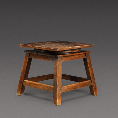 View 3. Thumbnail of Lot 175. A sculptor's walnut tripod low stand, probably French, early 20th century.