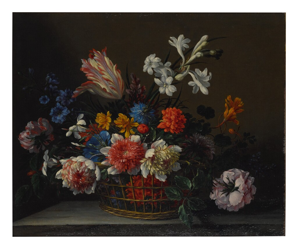 NICOLAS BAUDESSON     A STILL LIFE OF A BASKET FILLED WITH FLOWERS