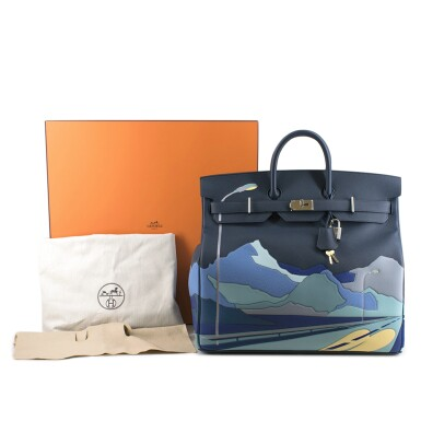 View 6. Thumbnail of Lot 108. HERMÈS | BLUE DE PRUSSE LIMITED EDITION ENDLESS ROAD BIRKIN 50 HAUTE Á COURROIERS IN TOGO, SWIFT AND CLEMENCE LEATHER WITH PALLADIUM HARDWARE, 2019.