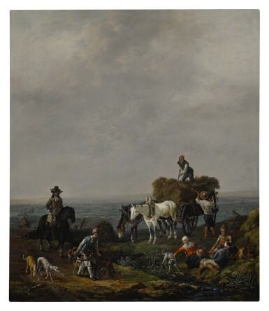 View 1. Thumbnail of Lot 531. Falconers on a path with harvesters loading hay onto a wagon nearby, a valley beyond, at dusk.