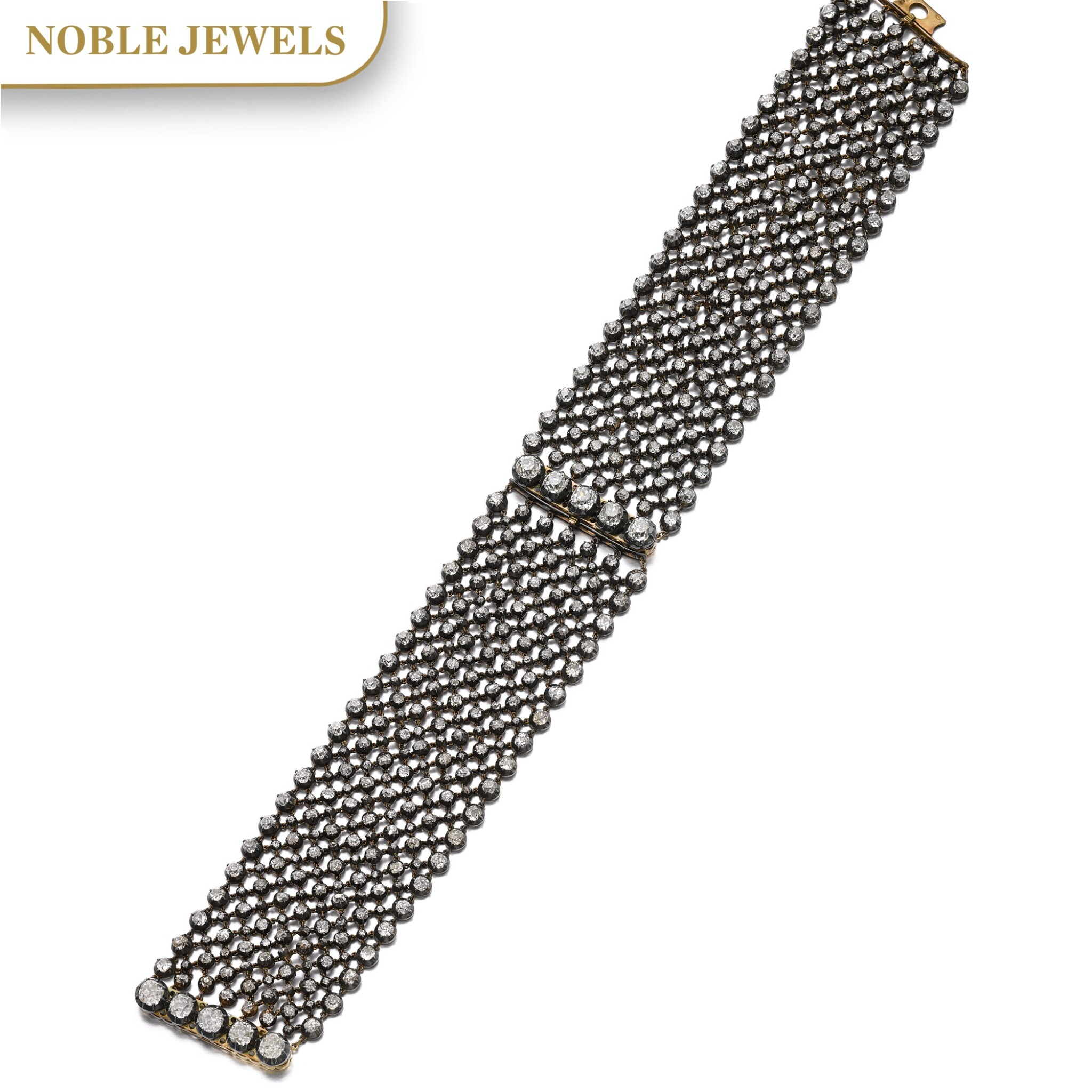 View full screen - View 1 of Lot 152. PAIR OF DIAMOND BRACELETS/CHOKER, LATE 19TH CENTURY AND LATER.