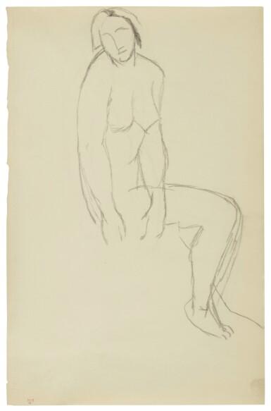 View 1. Thumbnail of Lot 62. Femme nue assise de trois quarts.