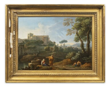 View 5. Thumbnail of Lot 161. A classical landscape with the Tomb of Cecilia Metella and figures conversing;  A classical landscape with a capriccio of the Vatican Belvedere and figures conversing in the foreground.