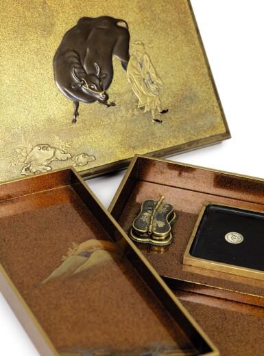 View 3. Thumbnail of Lot 74. A rare nashiji gold and silver inlaid suzuribak, Japan, Edo period.