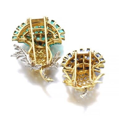 View 3. Thumbnail of Lot 303. VERDURA | PAIR OF SAPPHIRE, EMERALD AND DIAMOND BROOCHES, 'THISTLE', 1960.