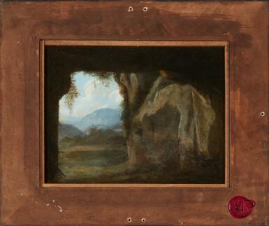 View 3. Thumbnail of Lot 78. CORNELIS VAN POELENBURCH | Recto: Saint Peter standing in an italianate landscape; Verso: a rocky cave landscape.