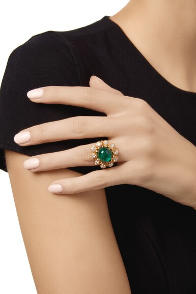 View 2. Thumbnail of Lot 74. EMERALD AND DIAMOND RING, VAN CLEEF & ARPELS.