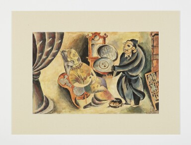 View 2. Thumbnail of Lot 7. ISSACHAR RYBACK | OFFERING A PRESENT, A GOAT AND THE RABBI'S WIFE: 3 PAINTINGS.