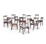 OLE WANSCHER | DINING ROOM SET COMPRISED OF ONE TABLE, THREE EXTENSION LEAVES, TEN CHAIRS, TWO ARMCHAIRS