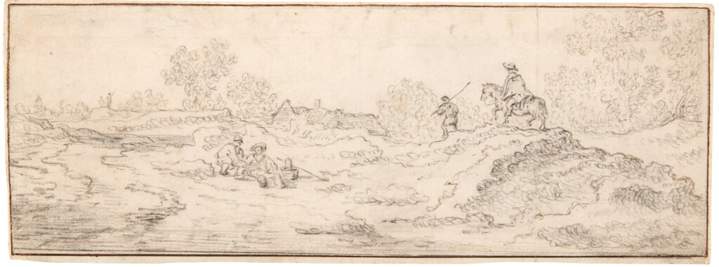 ATTRIBUTED TO CORNELIS SYMONSZ. VAN DER SCHALCKE   DUNE LANDSCAPE WITH TRAVELLERS AND OTHER FIGURES, A VILLAGE BEHIND
