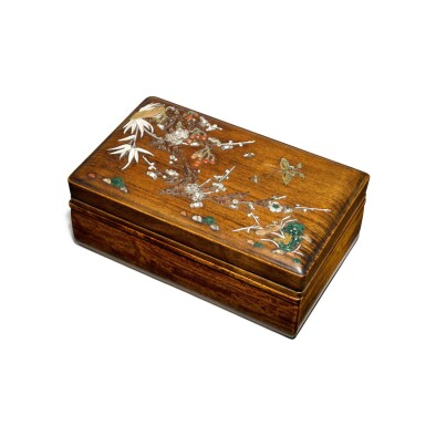 View 2. Thumbnail of Lot 122. An embellished 'huanghuali' box and cover, Qing dynasty, 17th / 18th century   清十七 / 十八世紀 黃花梨嵌寶花蝶圖蓋盒.