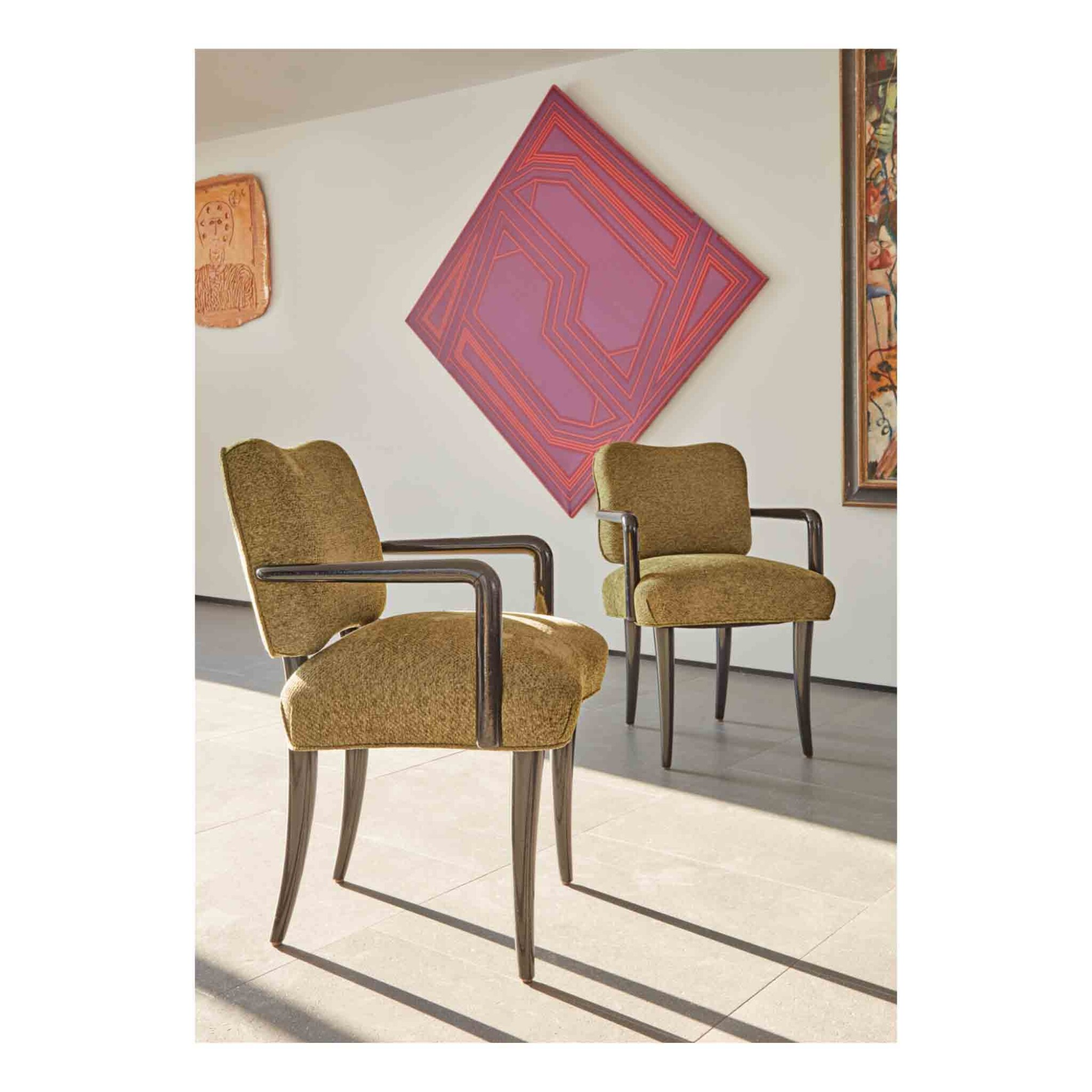 """View 1 of Lot 404. Pair of """"Trèfle"""" Armchairs."""