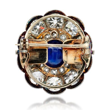 View 3. Thumbnail of Lot 156. From the Collection of Her Royal Highness The Princess Margaret, Countess of Snowdon: Sapphire and diamond brooch, 1890s.